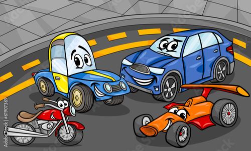 Staande foto Cartoon cars cars vehicles group cartoon illustration