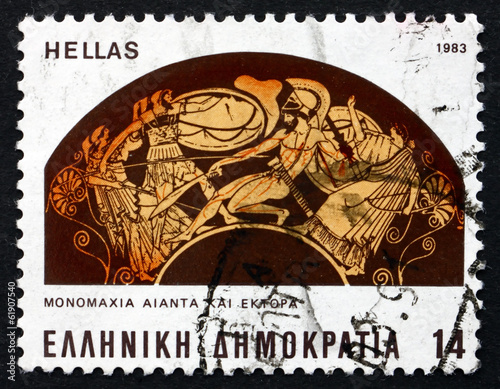 Photo  Postage stamp Greece 1983 Battle between Ajax and Hector