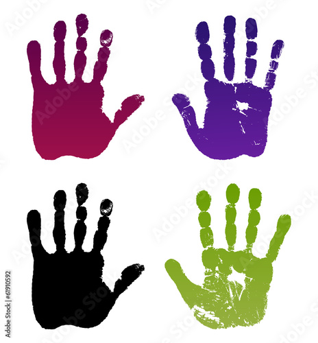 Fotografie, Obraz  Old man four hand prints