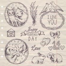 Hand Drawn Vintage Set Valentine's Day