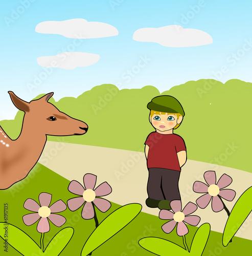 Bambi and little Boy плакат