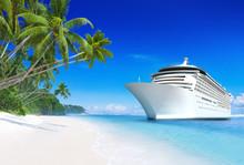 3D Cruise Ship By Tropical Beach