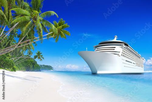 Photo 3D Cruise Ship by Tropical Beach