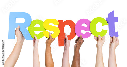 Stampa su Tela Diverse Hands Holding Up Respect