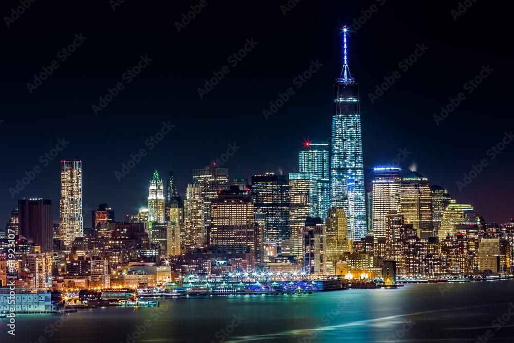 Fototapety, obrazy: Lower Manhattan by night