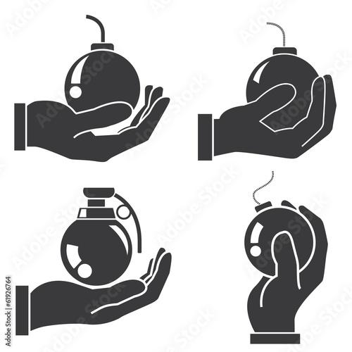 Photo hand holding bomb