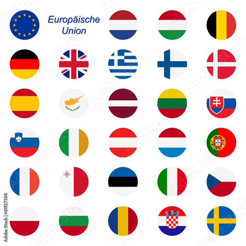 Fotografía  EU Mitgliedstaaten - Flaggen rund