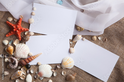 shells and starfish with white papers Wallpaper Mural