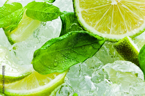 Fotografie, Obraz  lime pieces and leaves of mint with ice