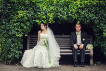 Wedding, The Couple Hid Under The Arch Of Leaves