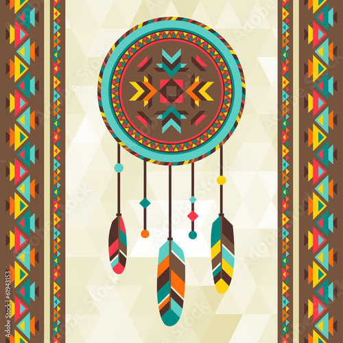 Photo Ethnic background with dreamcatcher in navajo design.