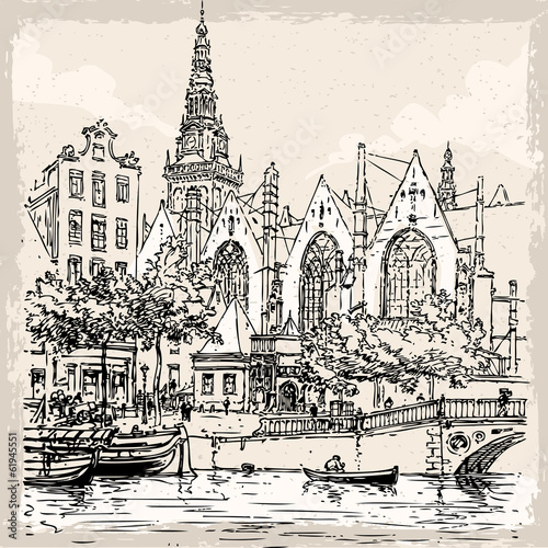 vintage-recznie-rysowane-widok-starego-kosciola-w-amsterdamie