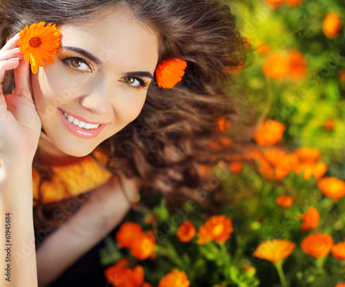 Enjoyment Free Happy Woman Enjoying Nature Beauty Girl Over Ma Wall Mural Victoria Andreas