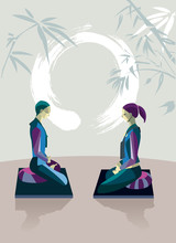 Man And Woman Meditating With ...