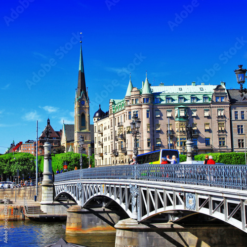 Foto-Kassettenrollo premium - pictorial canals of Stockholm