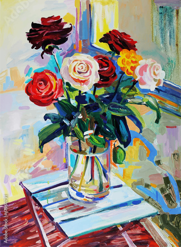 art composition of roses bouquet - 61960791