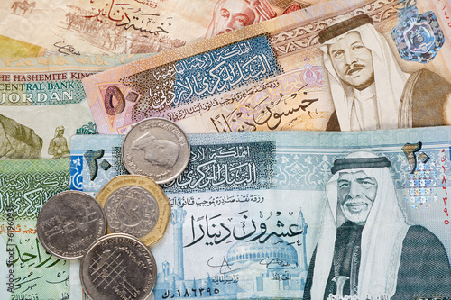 Poster Middle East Jordanian dinar banknotes and coins background