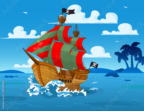 Printed kitchen splashbacks Fairytale World Pirate ship at sea