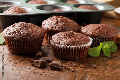 Fotografie, Obraz  Homemade delicious chocolate muffins close-up