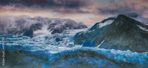 Küste Wellen Gemälde Ölgemälde Kunstdruck artprint