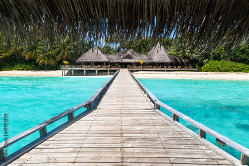 Fotografie, Obraz  Restaurante en Maldivas