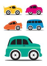 Different Retro / Vintage Car Cartoon - Vector Illustration