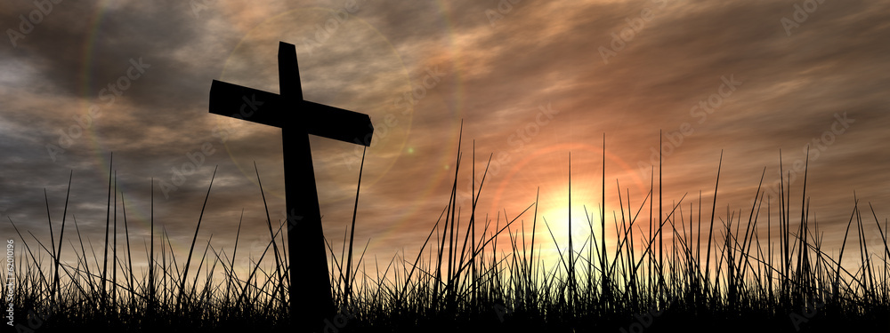 Fototapety, obrazy: Black cross in grass at sunset