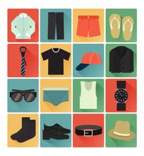 Flat Icons Gent Clothes Set