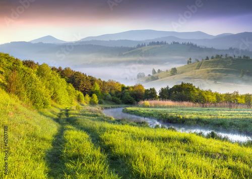 Fotobehang Landschap Colorful spring landscape in the valley of mountain river