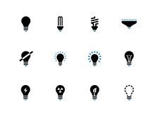 Light Bulb And CFL Lamp Duotone  Icons.