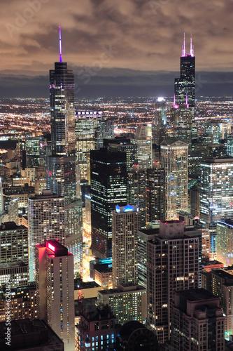 chicago-urban-widok-z-lotu-ptaka-o-zmierzchu