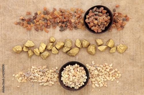 Obraz na plátně Gold Frankincense and Myrrh