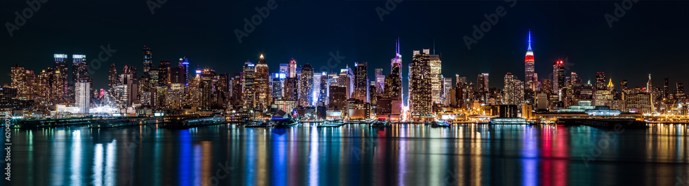 Fototapety, obrazy: New York midtown panorama by night
