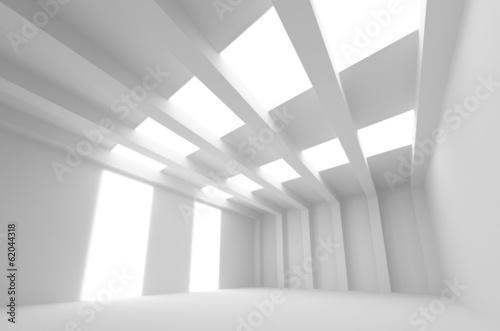 fototapeta na lodówkę Biały 3d abstrakt architektury. Puste wnętrze z l