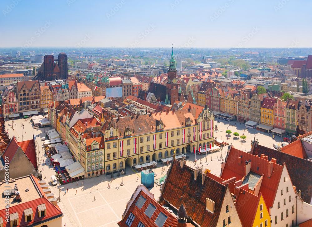 Fototapety, obrazy: Rynek Starego Miasta z ratuszem w piekny pogodny dzień, Wrocław