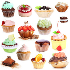 Fototapeta Sweet desserts isolated on white
