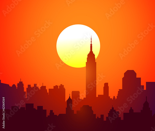 Fototapety, obrazy: City Sunset-Vector