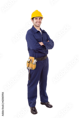 Fotografia  Full body portrait of a worker, isolated on white