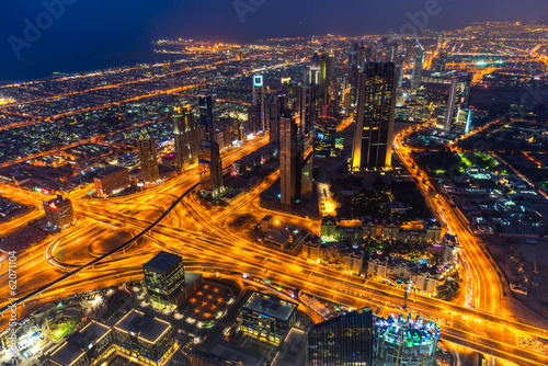 Photo sur Toile Europe Centrale Dubai skyline at dusk
