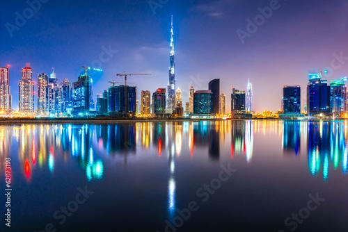 Foto-Kassettenrollo premium - Dubai skyline at dusk, UAE.