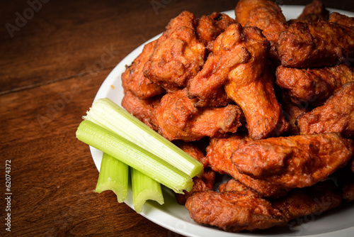 Fotografie, Obraz  Chicken Buffalo Wings with Celery Sticks