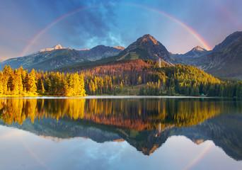 Mountain lake landscape with rainbow - Slovakia, Strbske pleso