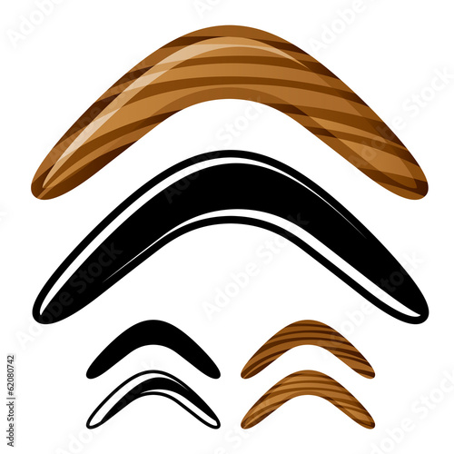 vector wooden australian boomerang icons Canvas Print