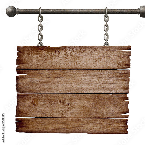 Obraz medieval signboard hanging on chain isolated on white - fototapety do salonu