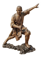 Shaolin Warriors Monk Bronze Statue In Viharn Sien