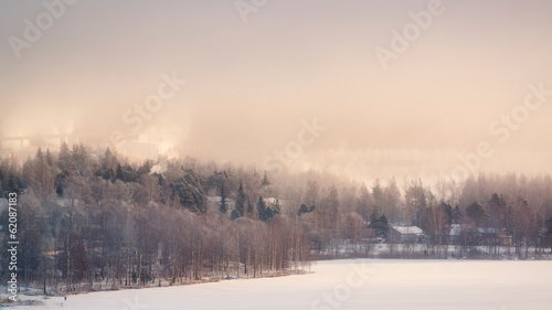 Spoed Foto op Canvas Cappuccino Hazy winter landscape