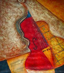 FototapetaÖlgemälde Gemälde Kunstdruck Violine Musik
