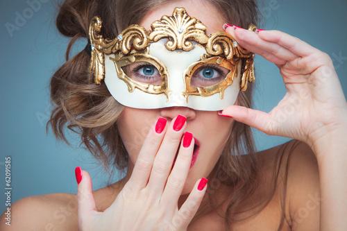 Fotografie, Obraz  woman with venetian mask