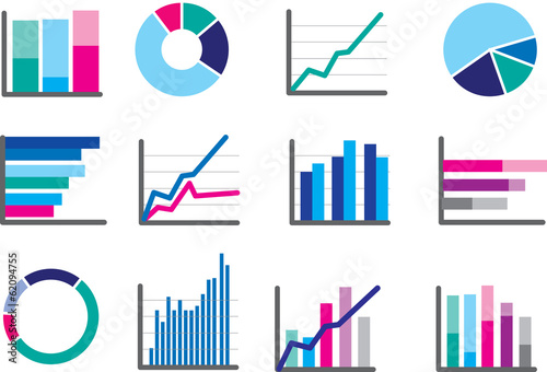 Pinturas sobre lienzo  icons of financial data money or performance graphs
