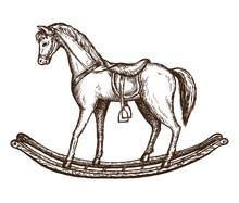 Vintage Horse Toy Hand Drawn Illustration